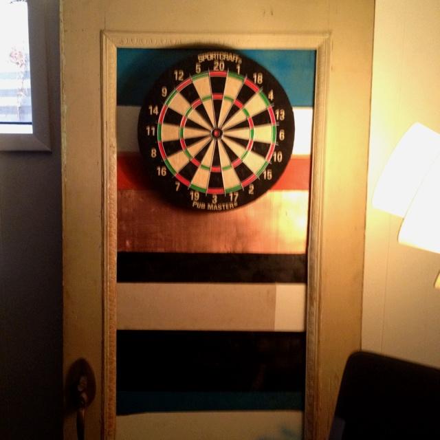 Old Door Made Into Dart Board Back Boy Room Pinterest