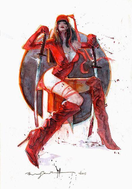 Leituras de BD/ Reading Comics: Ilustração: Elektra por Bill Sienkiewicz II