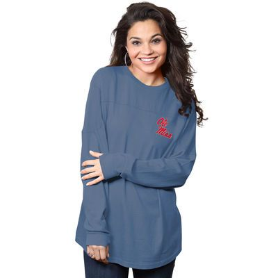 Ole Miss Rebels Women's The Big Shirt Oversized Long Sleeve T-Shirt - Navy
