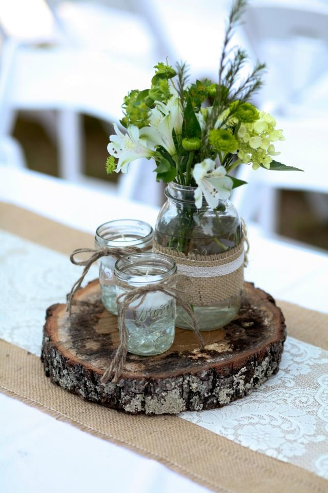 Reception decor. Burlap, wood, and lace. Flowers in lg mason jar, tea light candles in sm mason jars