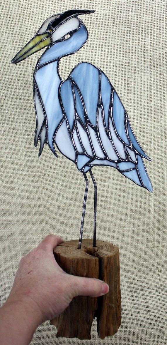Blue Heron Stained Glass Bird Panel on Oak Wood by BerlinGlass