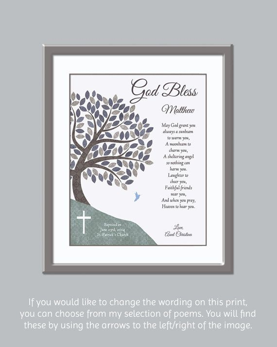 For more Godson / Boys Baptism gifts, please visit: https://www.etsy.com/ca/shop/GoldHousePrints?section_id=15953016&ref=shopsection_leftnav_5  THE BASICS: This is a customizable print -- I will use the information that you provide (see below on how to submit your info) to personalize your order. Your purchase can be sent in one of two ways:  1) Your print can be shipped to you 2) Your file (in JPEG format) can be emailed and youll have it printed w...