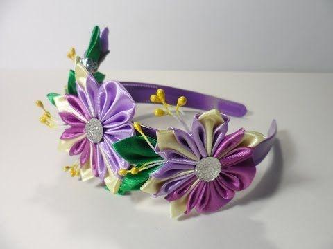 Цветок Канзаши Мастер класс Своими руками Flower Kanzashi Master Class hand made - YouTube