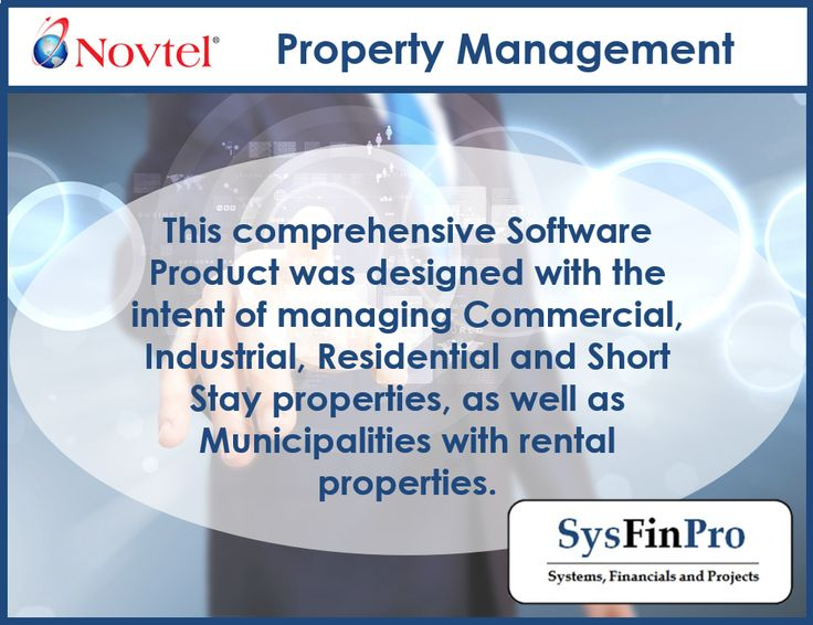 With #Novtel Property Management software you can manage Commercial, Industrial, Residential and Short Stay properties, as well as Municipalities with rental properties.