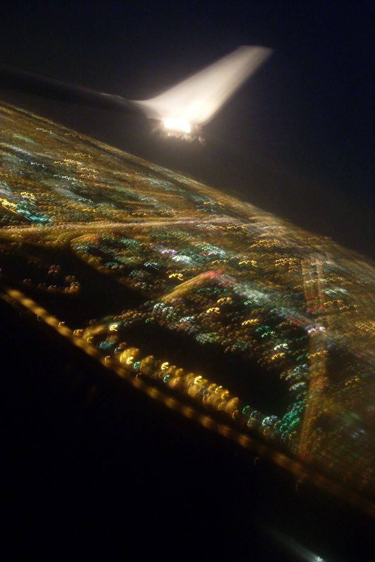 Returning to Miami at night. A view from the plane.