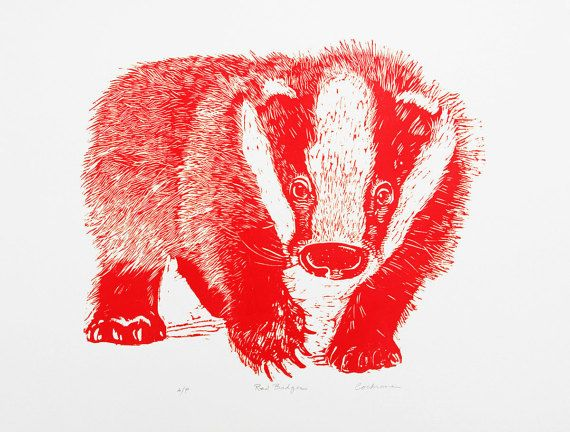 Red Badger woodblock print by CaryCochrane on Etsy