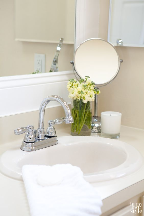 Staging ideas for a master bathroom.  Good article with tips for preparing your master bath to show at its best.