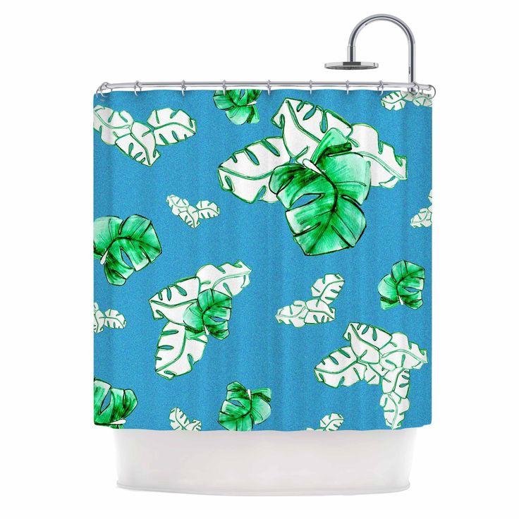 "Kess InHouse Danii Pollehn ""Palmtree"" Green Blue Shower Curtain"