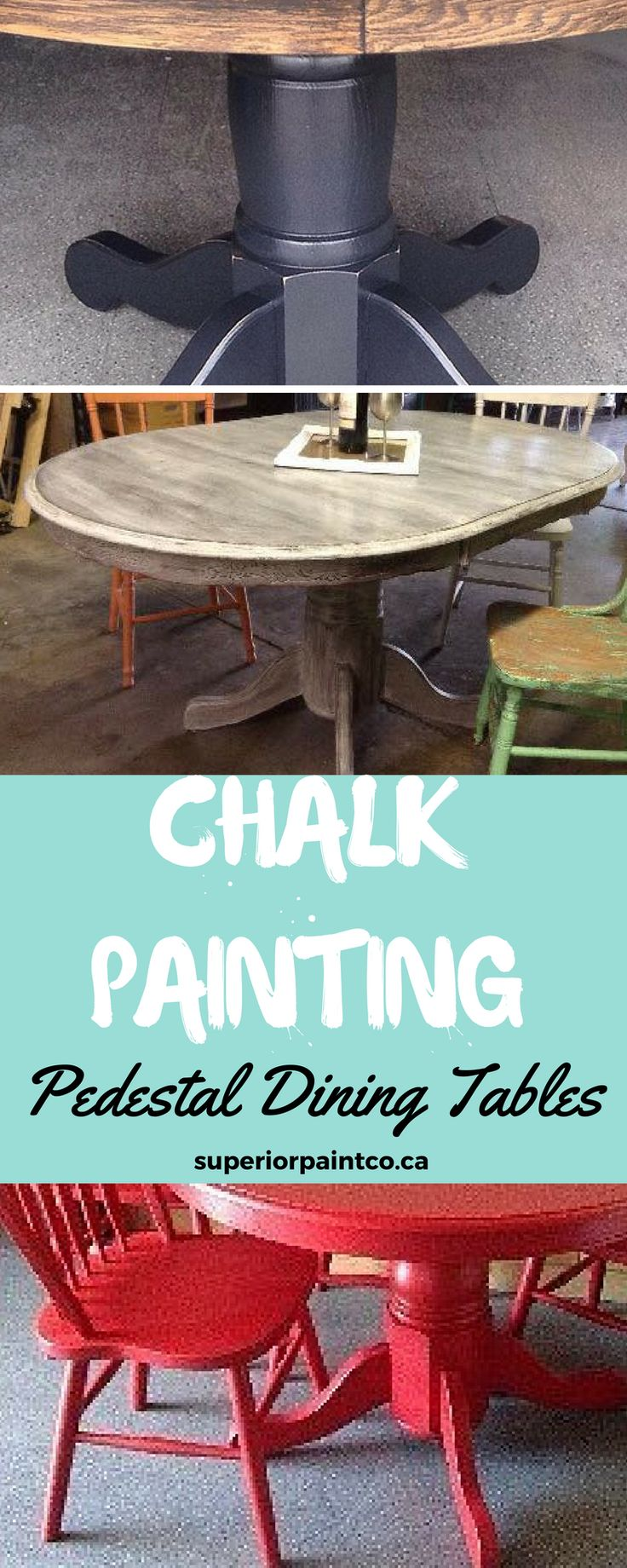 Chalk painted pedestal dining tables