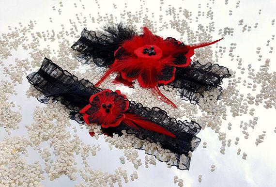Bright red wedding garter set Black and red garter set Lace