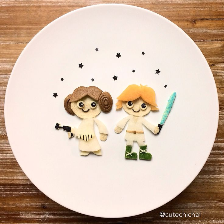 Food Art. May the force be with you. I made Luke and Leia Skywalker out of kiwi, cantaloupe, cheese, sea weed and jicama. Happy Star Wars Day!