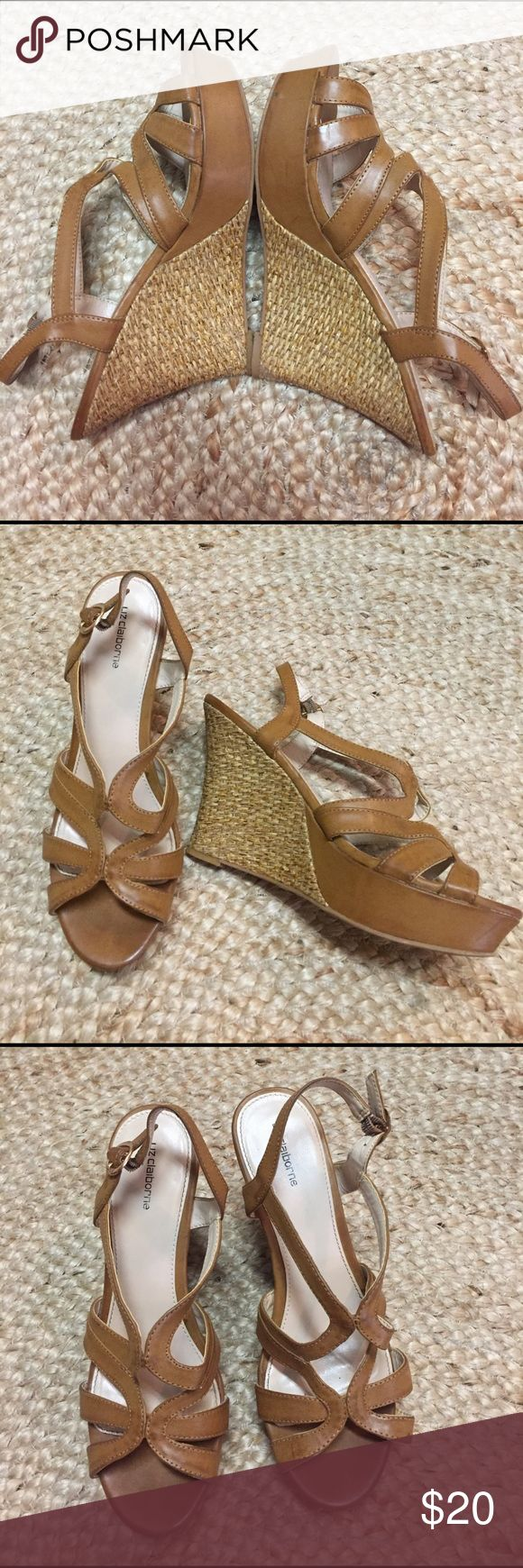"""Liz Claiborne tan strappy wedge sandal 7.5 Beautiful woven heel * approximately 4.5"""" * neutral color * a few flaws in platform (please see last photo) * Thanks for looking! :) Liz Claiborne Shoes Sandals"""
