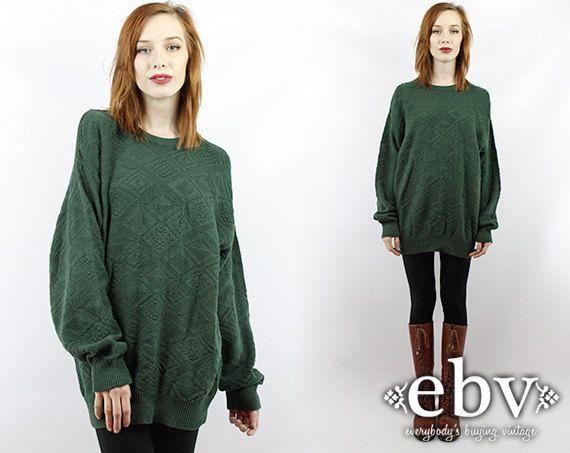 Vintage Oversized Sweater Vintage 90s Green Sweater Jumper Vintage ...