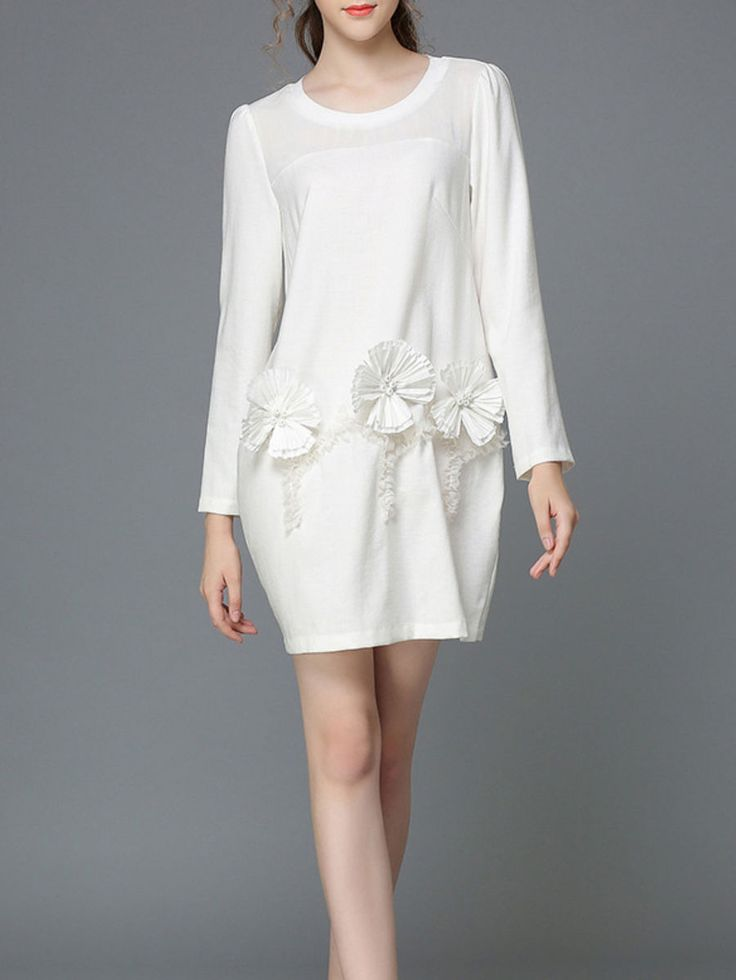 AOFULI Appliqued Paneled Mini Dress - 4XShoulder:16.9, Bust:44.9, Waist:40.2, Sleeve Length:24.4, Length:37.4. (In inches)