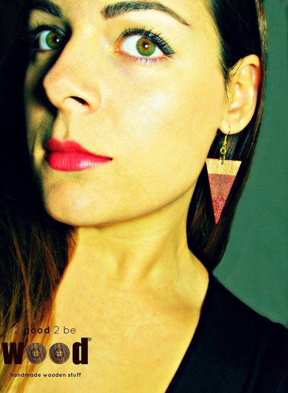 Handmade & Handpainted Geometric Triangle Wooden Earrings