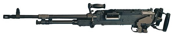 FN MAG / M240D pintle-mounted machine gun of late manufacture (with Picatinny rail on the top of the receiver).