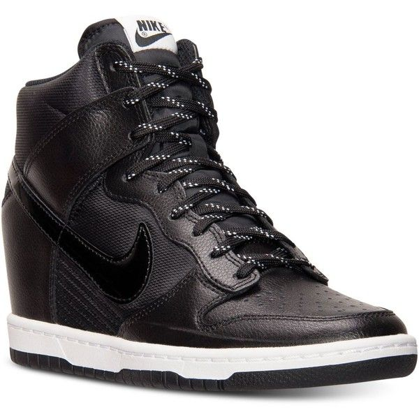Nike Women's Dunk Sky Hi Essential Sneakers from Finish Line ($85) ❤ liked on Polyvore featuring shoes, sneakers, high top sneakers, nike shoes, black white sneakers, black hidden wedge sneakers and black sneakers
