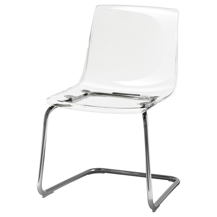 Tobias Chair Clear Chrome Plated Stoel Doorzichtig