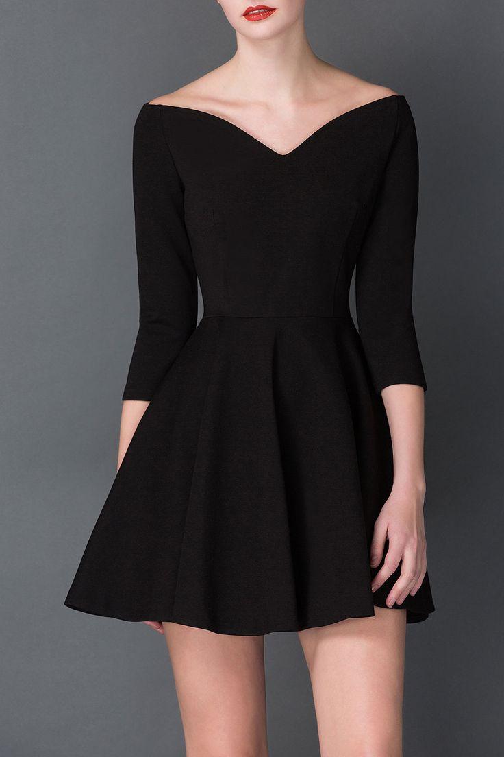 Cys Black V Neck Mini Hepburn Dress | Mini Dresses at DEZZAL