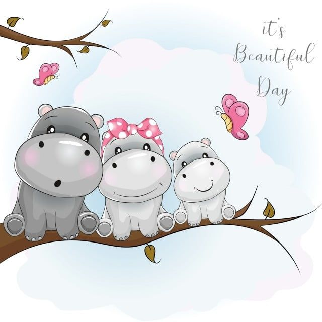 Three Cute Hippo Cartoon Sitting On The Branch Beautiful Butterfly Family Png And Vector With Transparent Background For Free Download Cute Hippo Cute Cartoon Wallpapers Baby Animal Drawings