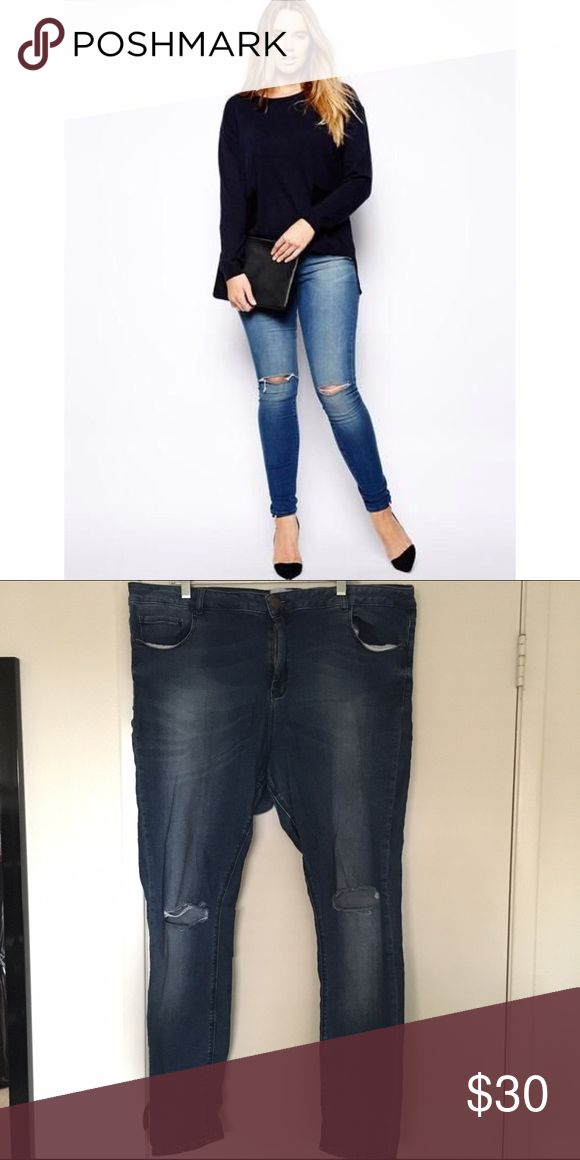 ASOS jeans ASOS curve jeans. They're a medium wash. Ripped knees. They're EXTREMELY stretchy. Marked as US 18 but fit 20/22. ASOS Curve Jeans Skinny