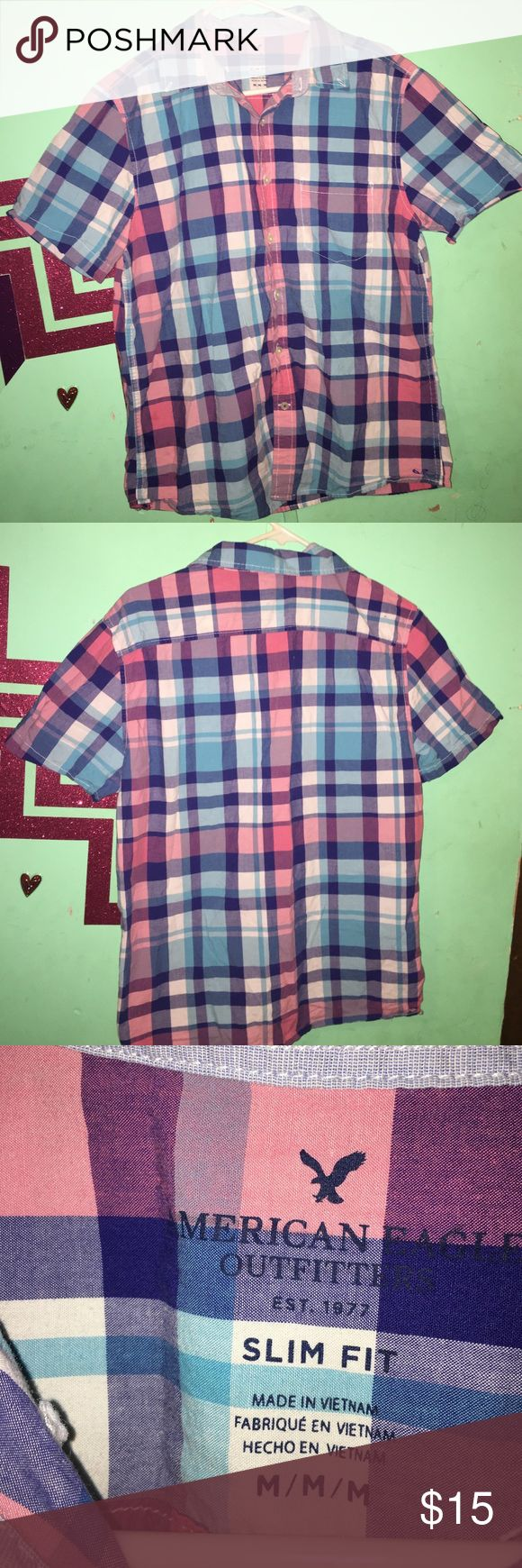 Men's dress shirt. American eagle Red, blue and black plaid American eagle dress shirt for men. Good condition. 100% cotton. American Eagle Outfitters Tops Button Down Shirts