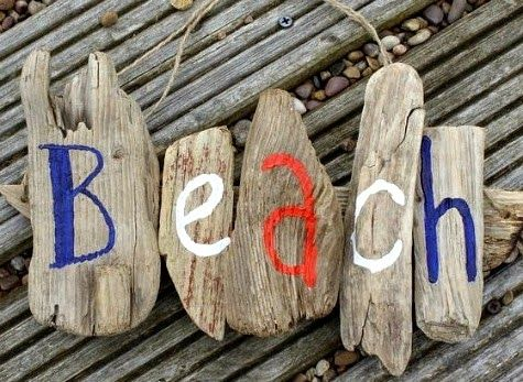 DIY driftwood sign idea with little chunky pieces that spell out beach: http://www.completely-coastal.com/2015/01/diy-driftwood-sign-ideas.html