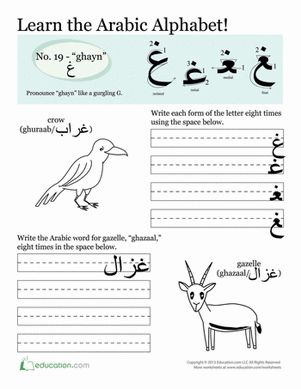 Third Grade Arabic Foreign Language Worksheets: How to Write Arabic: Ghayn