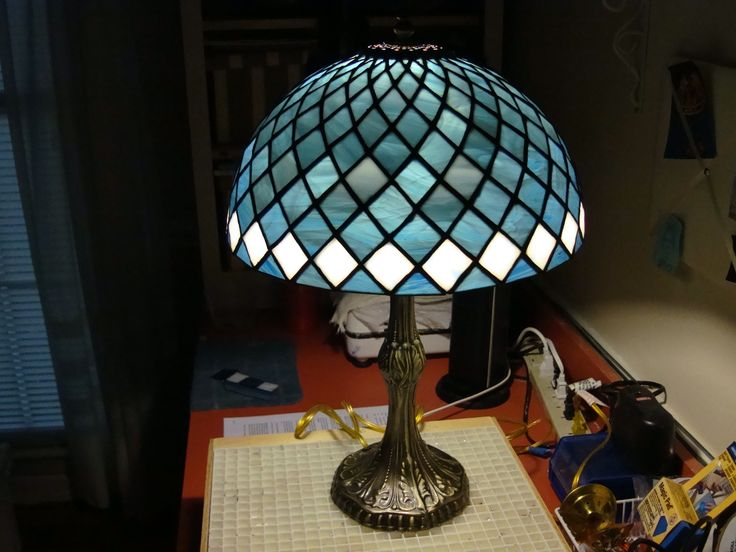 Stained glass lamp shade.  Completed 6/2012