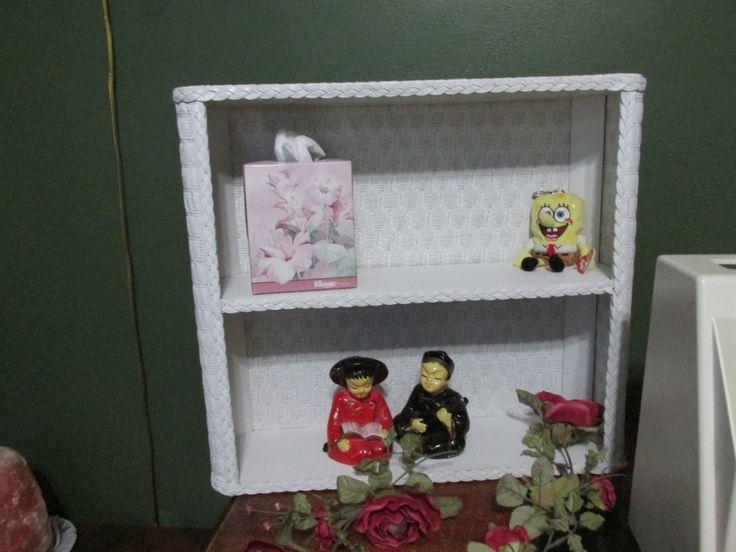 White Wicker Bathroom Shelf Unit With 2 Shelves