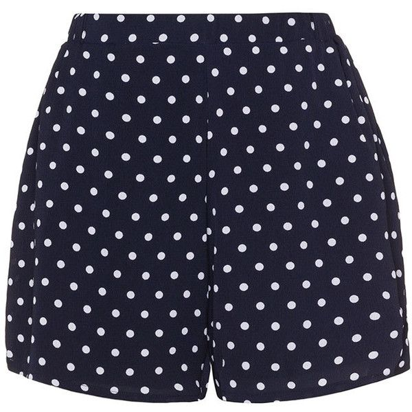 Zizzi Dark-Blue / White Plus Size Polka dot shorts ($58) ❤ liked on Polyvore featuring shorts, bottoms, pants, plus size, short shorts, woven shorts, zizzi, plus size shorts and elastic waistband shorts
