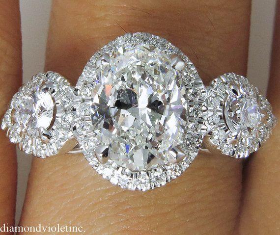 GIA 2.75ct Estate Vintage Oval Diamond Three by DiamondViolet