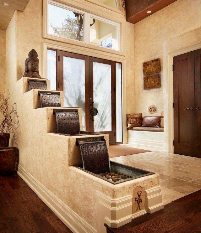 Asiatisch Zimmerbrunnen Stufenartig-Wasserfall Holz-Marmor Foyer-Flur-gestaltung
