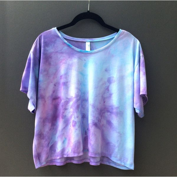 Dyed Flowy Cropped Tee Size Large ($20) ❤ liked on Polyvore featuring tops, t-shirts, shirts, light purple, women's clothing, tye dye t shirts, blue shirt, t shirt, collar t shirt and tee-shirt