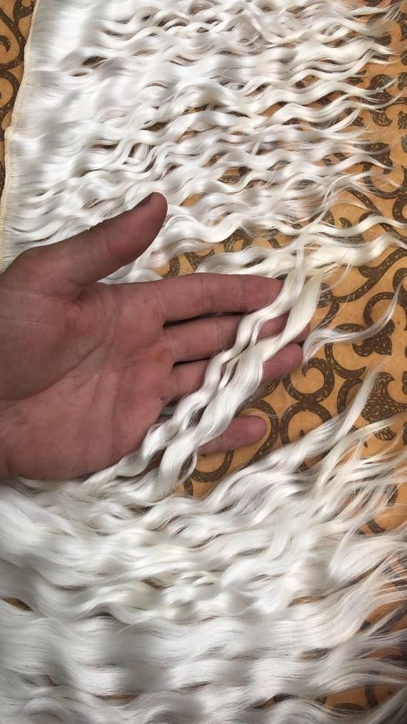 White mohair doll elite hair weft for Blythe, Monster High, BJD, Minifee, Waldorf and OOAK textile d