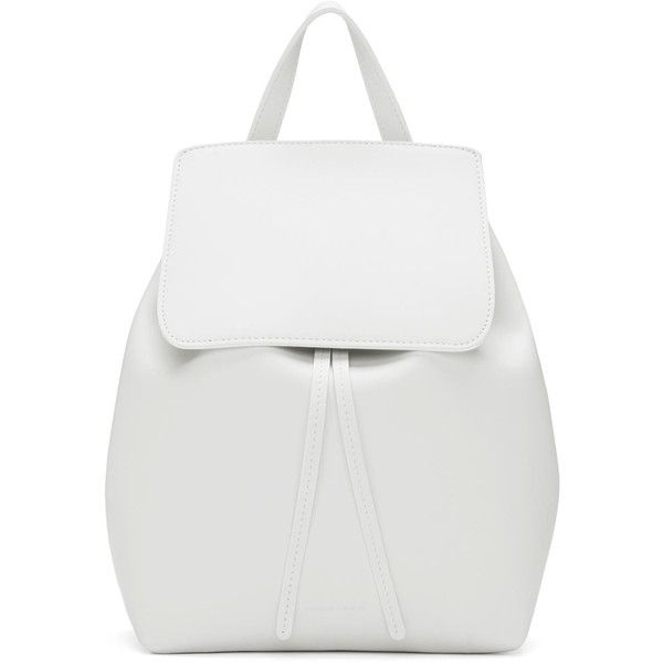 Mansur Gavriel White Leather Mini Backpack ($720) ❤ liked on Polyvore featuring bags, backpacks, white, bolsas, mochila, draw string backpack, studded leather backpack, leather drawstring backpack, genuine leather backpack and studded backpack