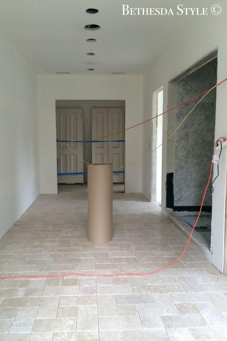 Bethesdastyle master bath flooring platinum beige for Tumbled marble bathroom designs