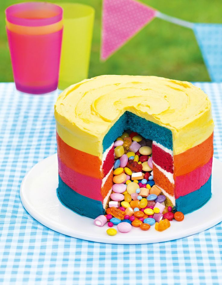 Masterclass : Piñata Cake ~ with step-by-step photos and full tutorial. This one's in fun, bright colors but you could keep it strictly red, white & blue for the 4th. | recipe from ASDA Magazine (July 2014) | also on http://recipes.asda.com/Recipes/masterclass-pinata-cake