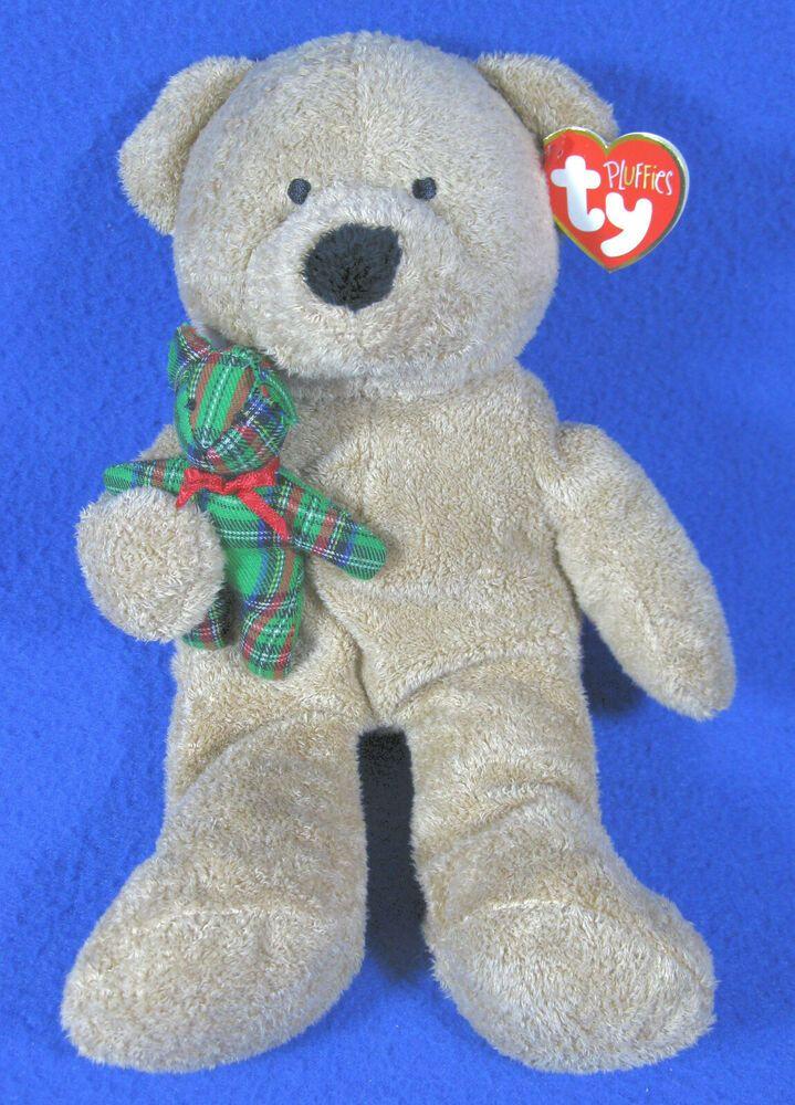 Ty Christmas Bear 2020 TY Pluffies Beary Merry Christmas Teddy Bear w/Small Green Plaid
