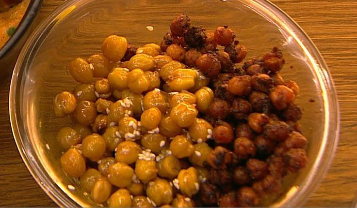 Sprøde spicy kikærter og honning sesam kikærter
