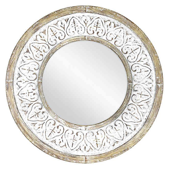 Bee Willow Home Distressed 26 Inch Round Wall Mirror In Rustic