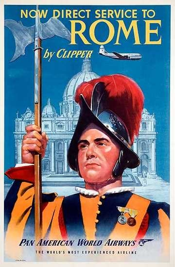 Pan Am Travel Poster Rome 1950s