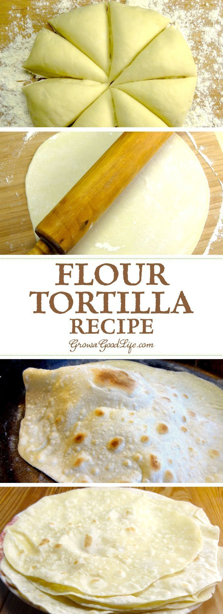 Only four basic ingredients are needed for this flour tortilla recipe. Making homemade tortillas is worth the extra effort because they taste so much better than store bought tortillas. Try this simple homemade flour tortilla recipe and you will know exactly what ingredients you and your family will be eating.