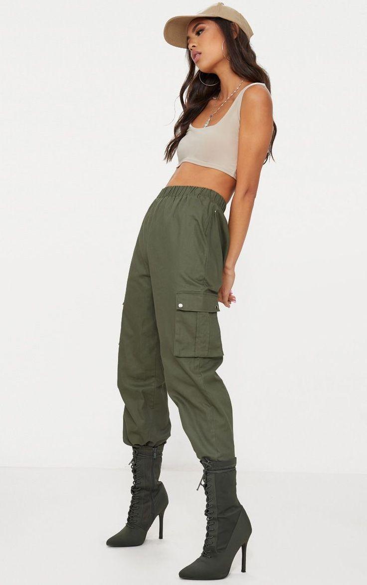 Khaki Pocket Detail Cargo Pants