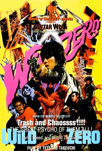 Probably the only punk rock zombie action/transsexual coming of age love story ever made, Wild Zero (1999) is based around the Japanese band Guitar Wolf, whose three members (Guitar Wolf, Bass Wolf and Drum Wolf) all feature: http://thezombiesite.com/wild-zero-1999/