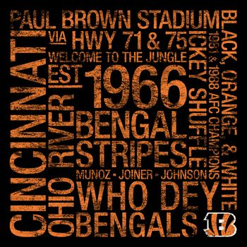 Cincinnati Bengals Square Subway Art Picture at Cincinnati Bengals Photo Store