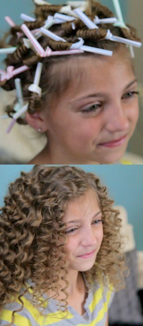 How cute! Use drinking straws to get super curly hair.