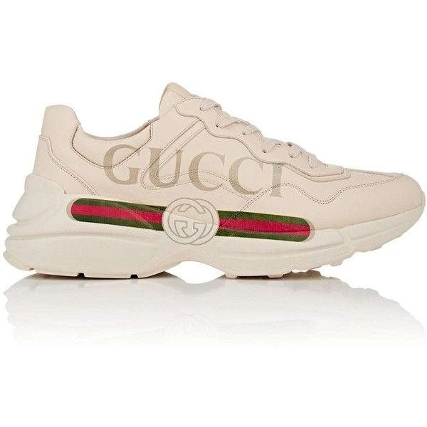 Gucci Men's Rhyton Leather Sneakers ($820) ❤ liked on Polyvore featuring men's fashion, men's shoes, men's sneakers, white, mens white sneakers, mens leather shoes, gucci mens sneakers, mens low profile sneakers and men's low top sneakers