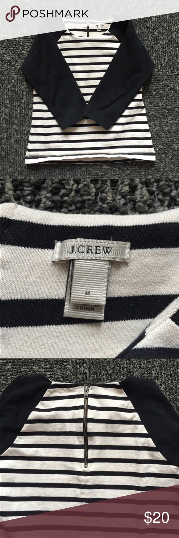 J.Crew 3/4 length boat neck top Brand new condition! Size medium but fits more like a Small. NOT FACTORY thick material. Lovely top!!! J. Crew Tops