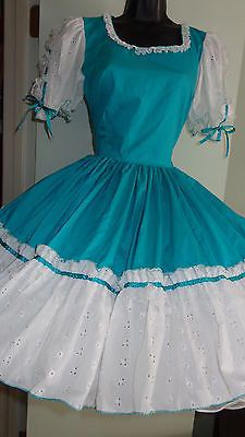 SQUARE DANCE DRESS - SZ 12 - TURQUOISE & WHITE EYELET W/LACE BOWS